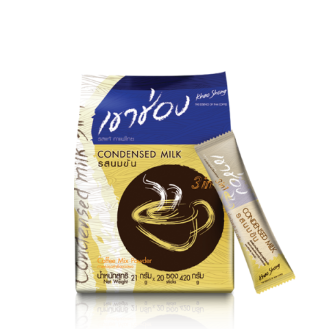 Khao Shong Coffee Mix 3in1 Condensed Milk : Khao Shong Coffee Mix 3in1 Condensed Milk / 21 g x 20 sticks / Price 84.00 THB
