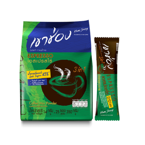 Khao Shong Espresso Less Sugar Coffee Mix 3in1 : Khao Shong Espresso Less Sugar Coffee Mix 3in1 14 g. x 25 sticks