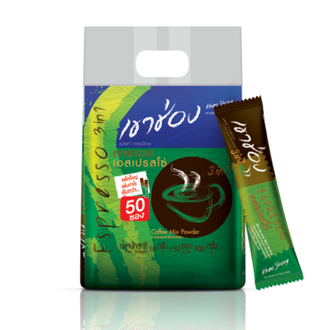 Khao Shong Coffee Mix 3in1 Espresso / 18 g x 50 sticks / Price 190.00 THB