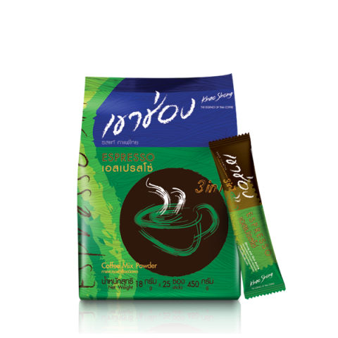 กาแฟเขาช่อง คอฟฟี่มิกซ์ 3in1 เอสเปรสโซ่ : กาแฟเขาช่อง คอฟฟี่มิกซ์ 3in1 เอสเปรสโซ่  / 18 กรัมx25ซอง / ราคา 84.00 บาท