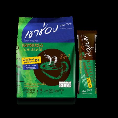 กาแฟเขาช่อง คอฟฟี่มิกซ์ 3in1 เอสเปรสโซ่ <br>สูตรน้ำตาลน้อย<br> : กาแฟเขาช่อง คอฟฟี่มิกซ์ 3in1 เอสเปรสโซ่ สูตรน้ำตาลน้อย 14 กรัม x 25 ซอง