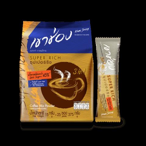 กาแฟเขาช่อง คอฟฟี่มิกซ์ 3in1 ซุปเปอร์ริช <br>สูตรน้ำตาลน้อย<br> : กาแฟเขาช่อง คอฟฟี่มิกซ์ 3in1 ซุปเปอร์ริช สูตรน้ำตาลน้อย 15 กรัม x 25 ซอง