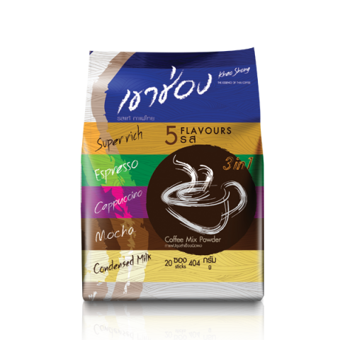 : Khao Shong Coffee Mix 3in1 Coffee Mix Powder 5 Flavours / 20 sticks / Price 99.00 THB